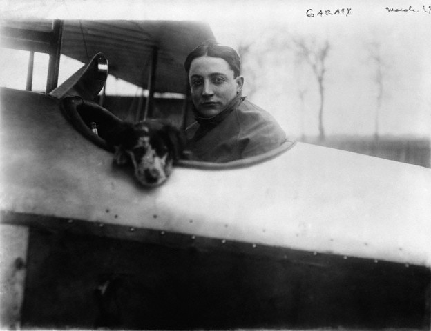 French Pilot Roland Garros and Dog in Biplane - Roland Garros: the Francophile's guide to tennis - MyFrenchLife.org