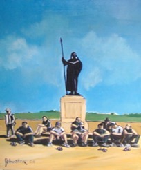 French language trouble - Ray's paintings of petanqueurs waiting to play at the monument aux morts. (Their French is not the French of l'Academie francaise either) - MyFrenchLife.org