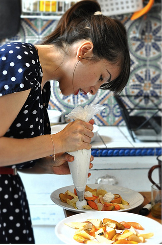 Travel in France - Rachel Khoo Interview - The Little Paris Kitchen 'piping' www.MyFrenchLife.org