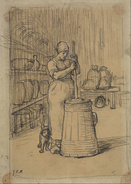 MyFrenchLife™ - Jean-François Millet - Study for Woman Churning Butter - French butter  - le beurre - MyFrenchLife.org