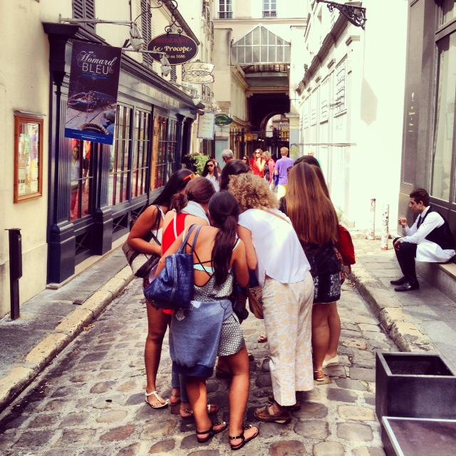 THATRue team, in front of Procope, Paris's oldest restaurant